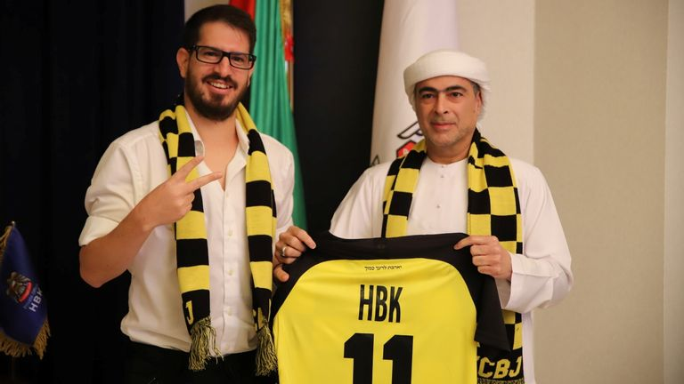 Sheikh Hamad Bin Khalifa Al Nahyan's and Beitar Jerusalem F.C. owner Moshe Hovav pose for a photo in Dubai, United Arab Emirates December 7, 2020. Courtesy Beitar Jerusalem/Handout via REUTERS ATTENTION EDITORS - THIS PICTURE WAS PROVIDED BY A THIRD PARTY.