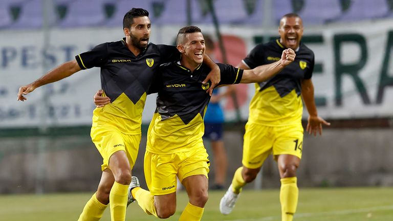 Beitar's players celebrate a goal in a match in 2017