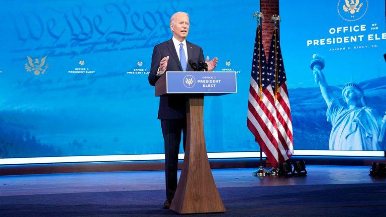 Joe Biden addresses the nation from Wilmington, Delaware