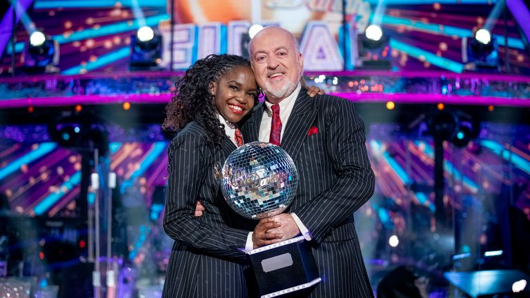 Strictly Come Dancing 2020 winners Bill Bailey and Oti Mabuse. Pic: BBC / Guy Levy