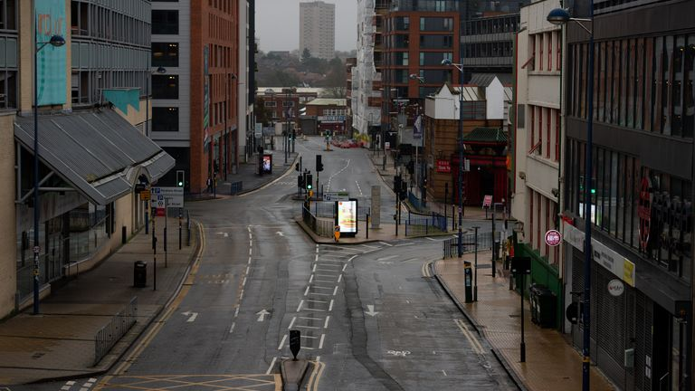 A quiet Pershore Street in Birmingham. Birmingham ahead of the city being placed into the more restrictive Tier 3 this week after the national lockdown in England comes to an end.