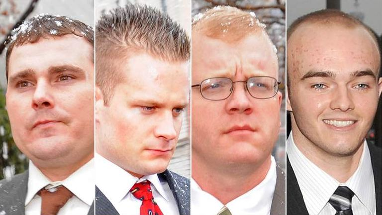 (L-R) Dustin Heard, Evan Liberty, Paul Slough and Nicholas Slatten. The four former Blackwater security guards received lengthy prison sentences for their role in a 2007 shooting that killed 14 Iraqi civilians and wounded more than a dozen others.