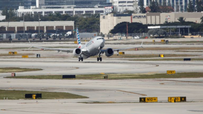 American Airlines flight 718 takes off from Miami, Florida