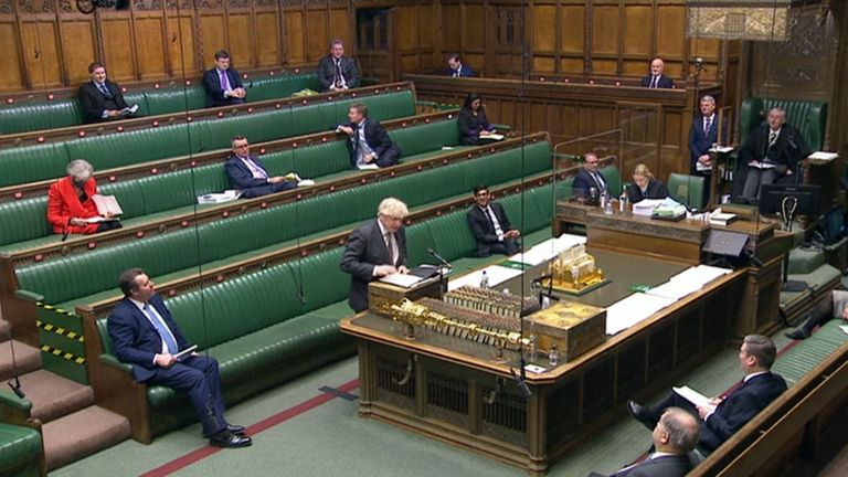 Prime Minister Boris Johnson during the debate in the House of Commons on the EU (Future Relationship) Bill.