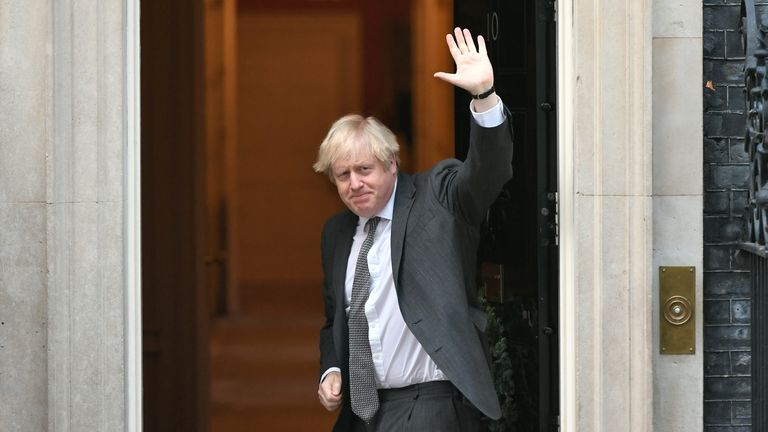Prime Minister Boris Johnson waves as he returns to Downing Street, London, after legislation to ratify the EU (Future Relationship) Bill cleared its first Commons hurdle with MPs giving it a second reading by 521 votes to 73, a majority of 448.
