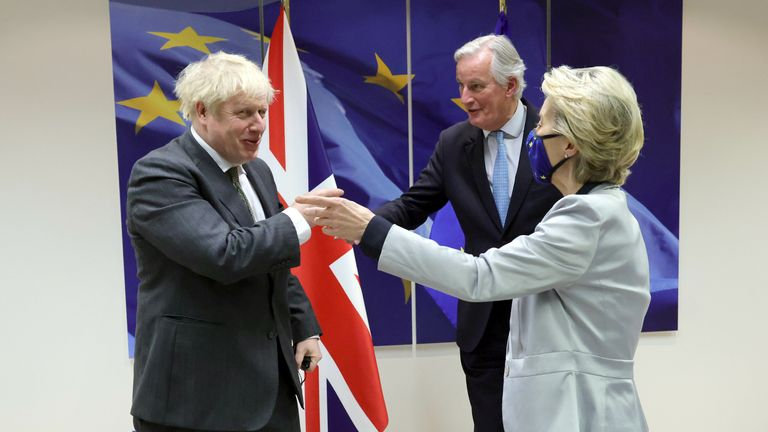 Boris Johnson, Michel Barnier and Ursula von der Leyen meet in Brussels Pic: Andrew Parsons / No 10 Downing Street
