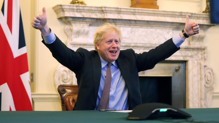 The prime minister celebrates. Pic: Boris Johnson/Twitter