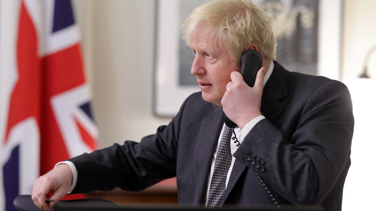 Boris Johnson Speaks to Ursula von der Leyen. The Prime Minister Boris Johnson speaks on the telephone from inside his office in No10 Downing Street, to the President of the European Commission Ursula von der Leyen during the final stages of the Brexit negations. Pic: Andrew Parsons/ No 10