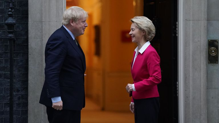 British Prime Minister Boris Johnson meets EU Commission President Ursula von der Leyen at 10 Downing Street on January 8, 2020 in London, England
