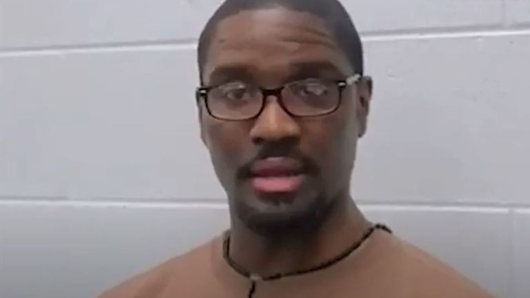 Brandon Bernard during a video in which he apologises to the victims of his crime