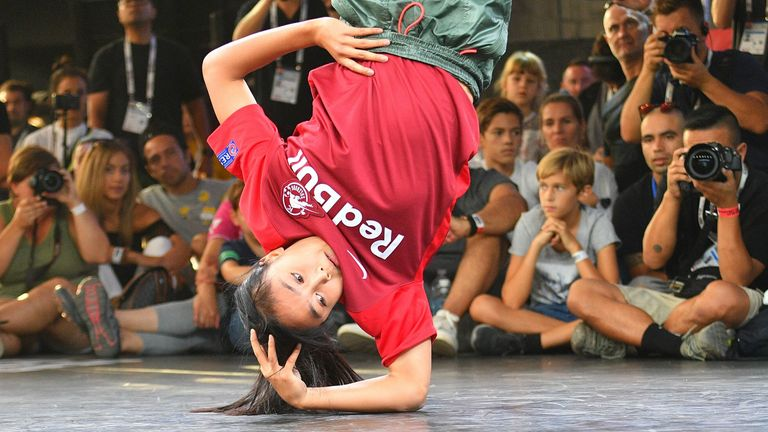 Logistx (Elann Logan Edra) from the US performs on the stage of the break dance final at the World Urban Games in Budapest, Hungary on September 14, 2019.