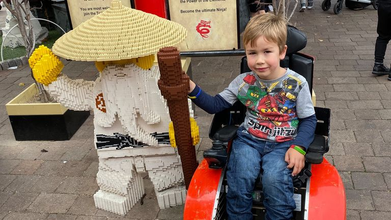 Undated family handout photo of Sebby Brett, 5, whose mother is calling on Legoland to change its disabled policy after her son was made to get up out of his wheelchair twice and walk, before he was allowed on the rides.