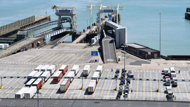 Freight lorries and passenger vehicles wait on the quayside at the port of Dover