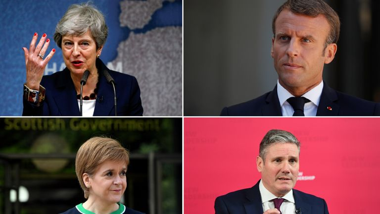 Theresa May, Emmanuel Macron, Nicola Sturgeon and Keir Starmer