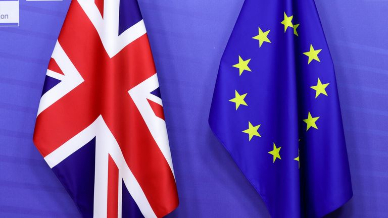 British and EU flags are seen ahead of the meeting of European Commission President Ursula von der Leyen and  Boris Johnson