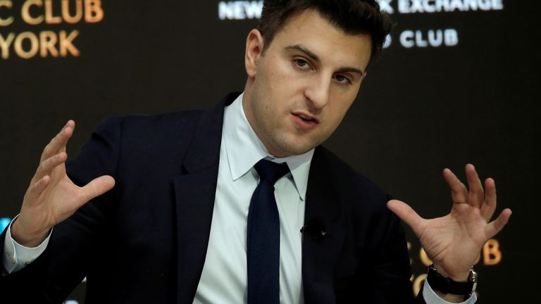 Brian Chesky, CEO and Co-founder of Airbnb, speaks to the Economic Club of New York at a luncheon at the New York Stock Exchange (NYSE) in New York, U.S. March 13, 2017.