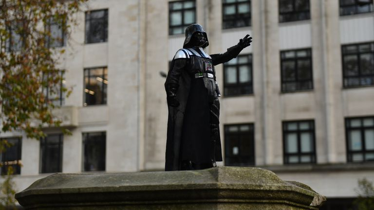 A Darth Vader figurine on the empty Edward Colston plinth in Bristol after it was placed there overnight on Wednesday. Bristol born actor Dave Prowse who played the baddie in the original Star Wars trilogy died on Sunday following a short illness.