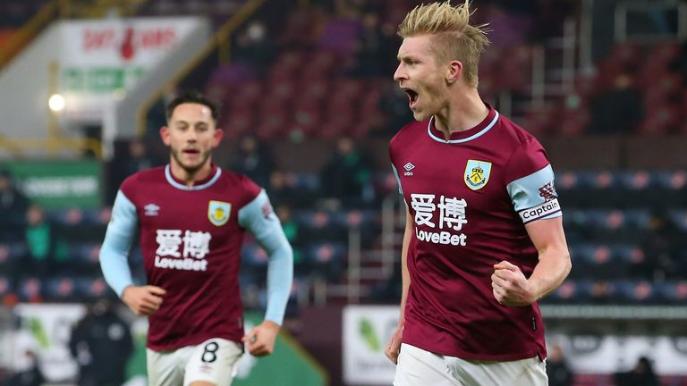 Burnley's Ben Mee celebrates scoring his side's first goal of the game during the Premier League match at Turf Moor, Burnley 29/12/20