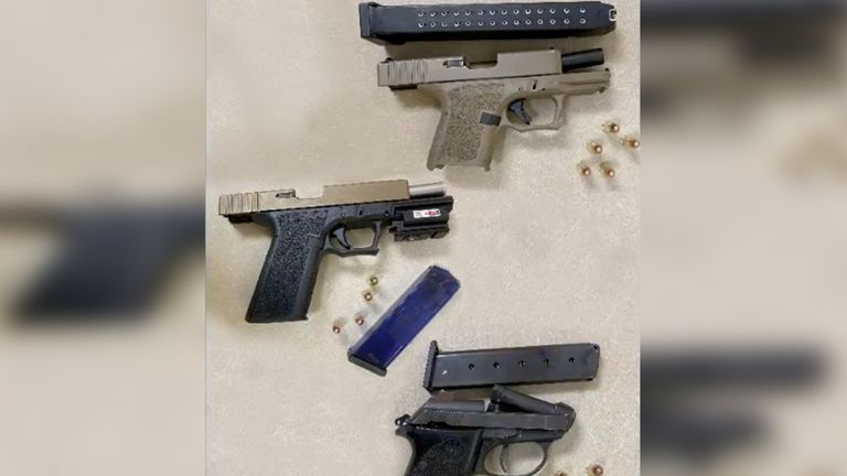 Firearms were also seized. Pic: Los Angeles County Sheriff's Department