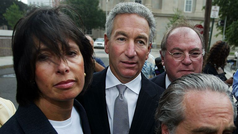 Charles Kushner, centre, is the father of Mr Trump's son-in-law Jared