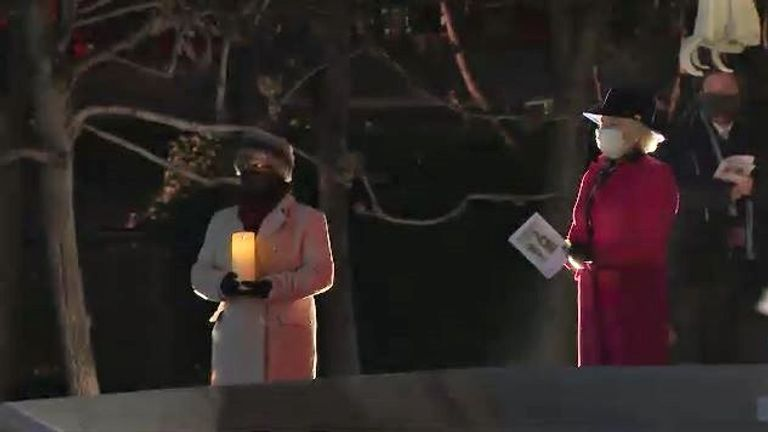Leader of the Commons, Jacob Rees-Mogg, at a socially-distanced Christmas carole ceremony at New Palace Yard, above Parliament's carpark.