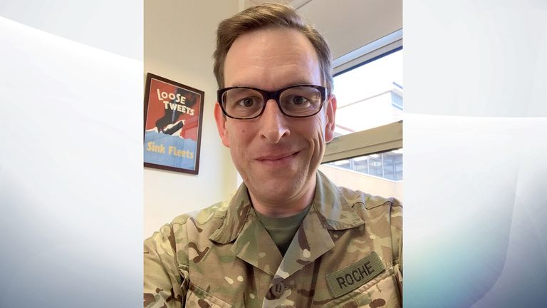 Major Laurence Roche, 44, works at a NATO base near Gloucester.
