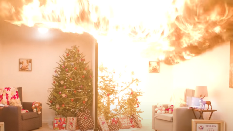 The dry tree causes a huge fire within seconds. Pic: US Consumer Product Safety Commission