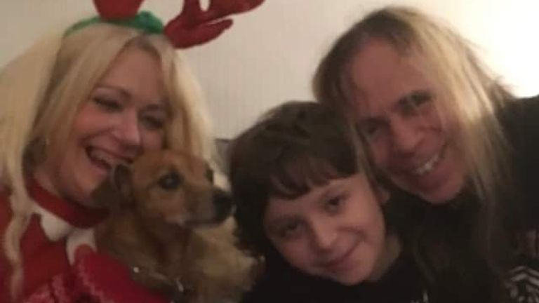 Sally Purcell with her husband Craig, their son and their dog