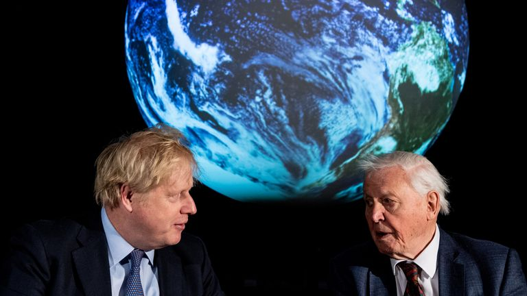 File photo dated 04/02/20 of Prime Minister Boris Johnson (left) and Sir David Attenborough during the launch of the next COP26 UN Climate Summit at the Science Museum, London. December 13th 2020 marks the first anniversary of Mr Johnson's General Election win.