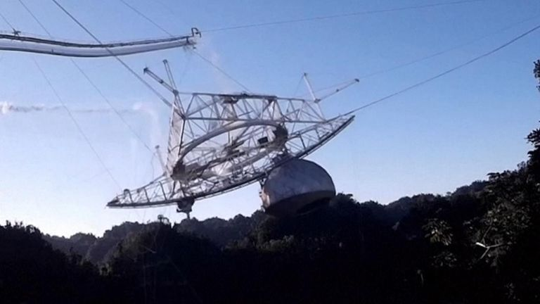 Drone catches collapse of huge telescope featured in James Bond movie