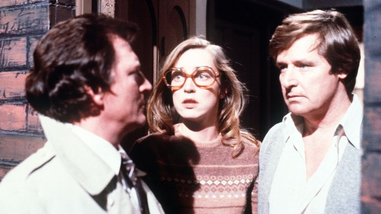 Mike Baldwin (Johnny Briggs), Deirdre Barlow (Anne Kirkbride) and Ken Barlow (Bill Roache) in Coronation Street in 1983. Pic: ITV