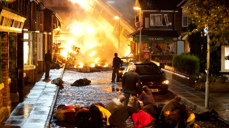 Coronation Street marked its 50th anniversary with a huge tram crash and a live episode in 2010. Pic: ITV
