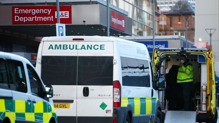 Ambulances parked outside The Royal London Hospital on December 27, 2020 in London, England. The hospital recently opened a new critical care unit, increasing the trust's capacity to treat critical COVID-19 patients, while minimising impact on non-covid clinical services.