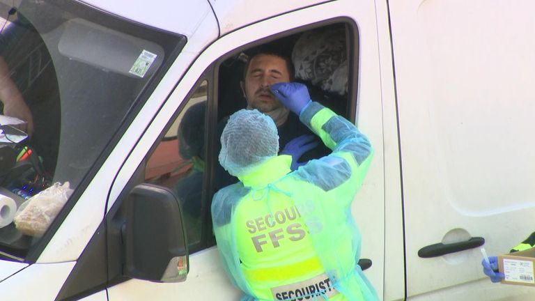 Lorry drivers are tested by French firefighters around Dover