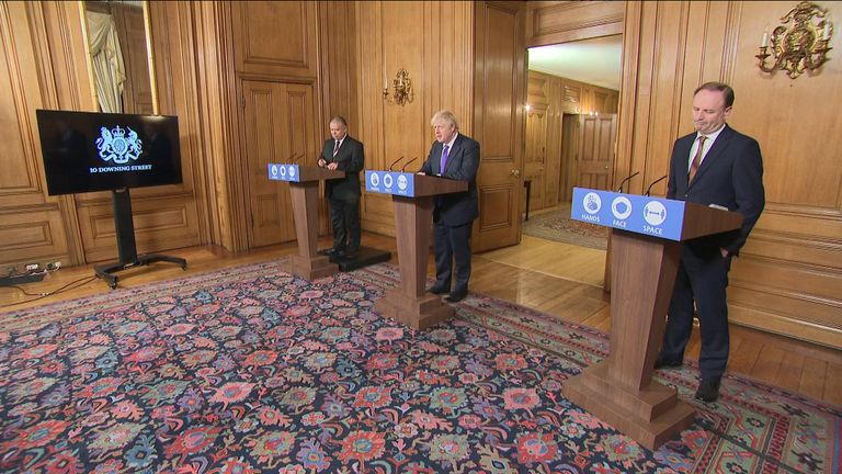 Prime Minister Boris Johnson leads the government's coronavirus press briefing at Downing St