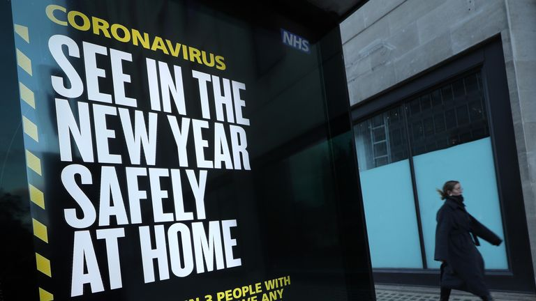 A coronavirus sign in Westminster, London