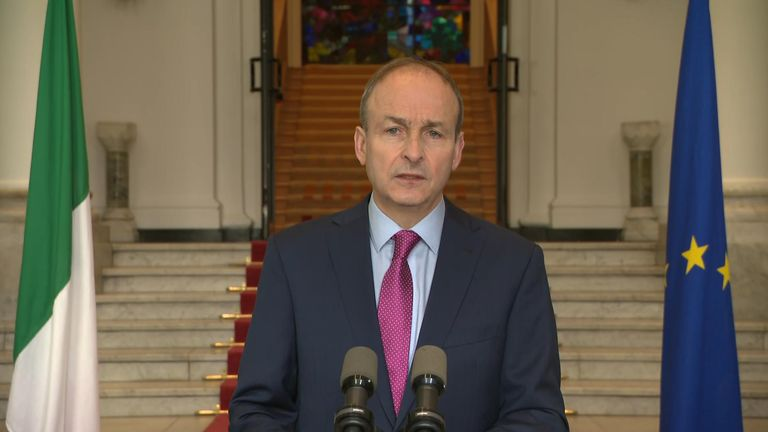 Irish prime minister Micheal Martin delivers a press conference on further COVID-19 restrictions