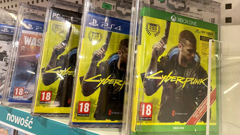 FILE PHOTO: Boxes with CD Projekt's game Cyberpunk 2077 are displayed in Warsaw, Poland, Dec. 14, 2020. REUTERS/Kacper Pempel/File Photo