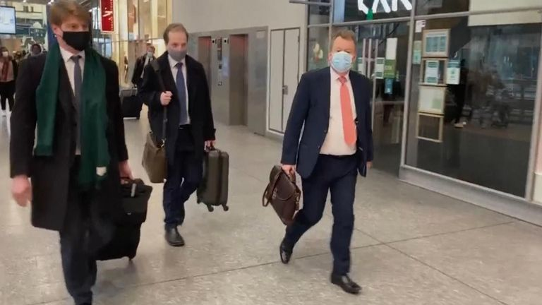 Lord Frost (right) arriving in Brussels on Sunday