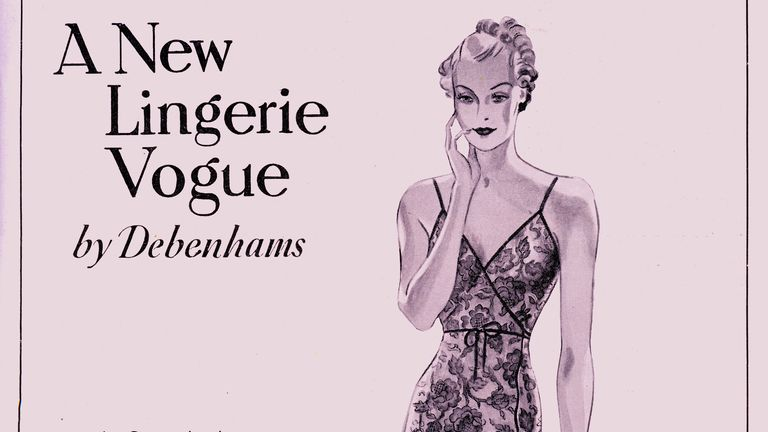 Debenham and Freebody (Debenhams) Lingerie Advertisement in a 1937 magazine. Caption reads 'A Cami - knicker in dainty lace, cross-over shape trimmed with narrow edging of satin. Made in our own workrooms, in peach, sky, ivory, black.'