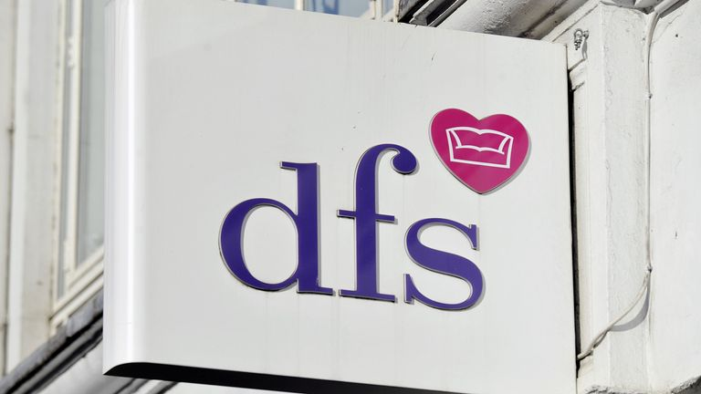 """DFS store in Tottenham Court Road, London. Sofa chain DFS Furniture has cheered a strong bounce back in trading after slumping to an annual loss in an """"extraordinary"""" year caused by the pandemic."""