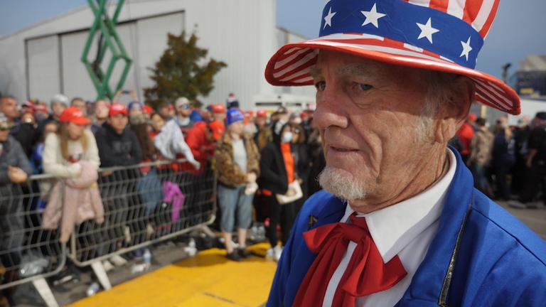 A Donald Trump supporter at a rally in Valdosta, Georgia