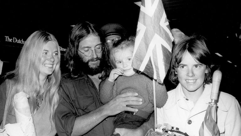 17th October 1975: Doug Scott, a member of the British team which scaled Mount Everest, on his arrival at Heathrow Airport with his family. (Photo by Keystone/Getty Images)