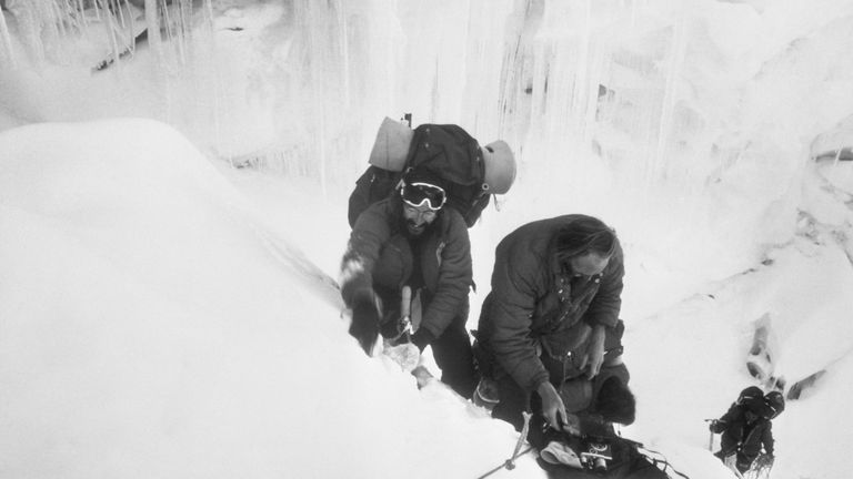 Doug Scott and Hamish MacInnes in an icefall on Mount Everest