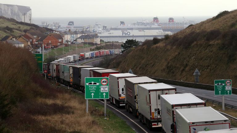Lorries queue for The Port of Dover along the A20 in Kent ahead of the end of the Brexit transition period (Pic: 18 December)