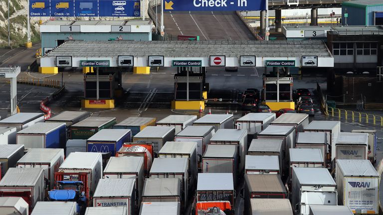 Lorries queue to enter the port of Dover in Kent. Christmas stockpiling and Brexit uncertainty have again caused huge queues of lorries to stack up in Kent. The latest delays came as the UK marked less than two weeks until 2021 and the end of the Brexit transition period