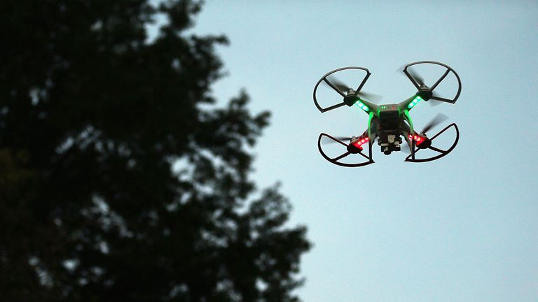 OLD BETHPAGE, NY - AUGUST 30: A drone is flown for recreational purposes in the sky above Old Bethpage, New York on August 30, 2015. (Photo by Bruce Bennett/Getty Images)