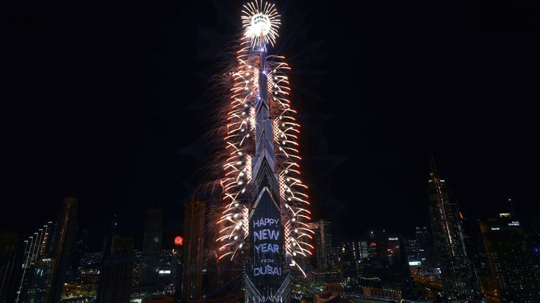 Fireworks explode from the Burj Khalifa, the tallest building in the world, during New Year's Eve celebrations in Dubai