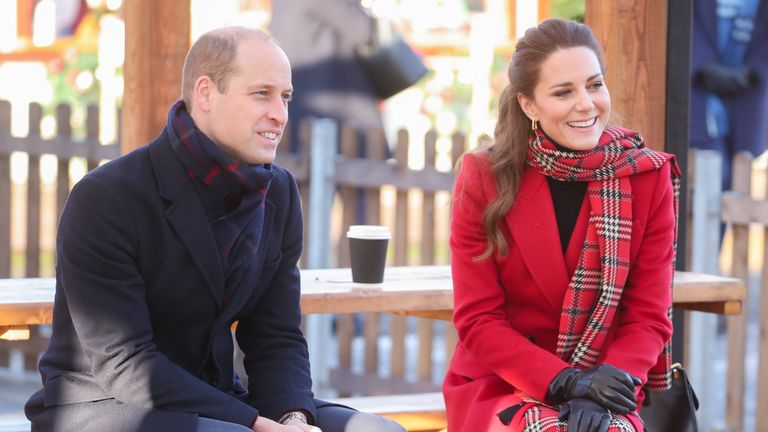 The Duke and Duchess of Cambridge speak with members of the public during a visit to Cardiff Castle , in Cardiff, Wales, on the final day of a three-day tour across the country.