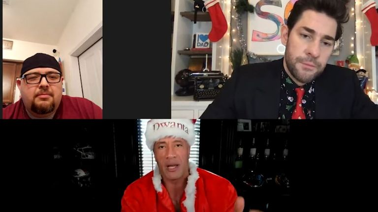 Dwayne 'The Rock' Johnson became 'Dwanta Claus' on John Krasinski's Some Good News YouTube series to help out widowed father-of-two Jay Abel